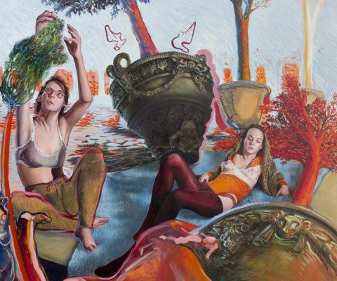 Suzanne et les vioques-huile sur toile-2018-114cm/163cm-Collection Privée
